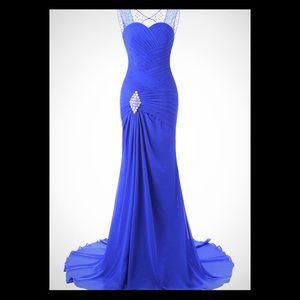 Beautiful Royal blue Formal Evening Gown dress